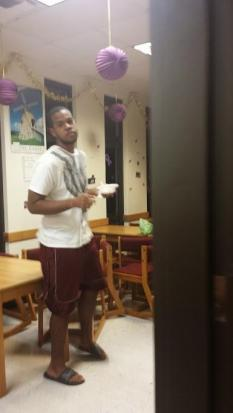 AJah Richard, Alternate RA, enjoyed his ice cream in the Residence Hall Conference Room.