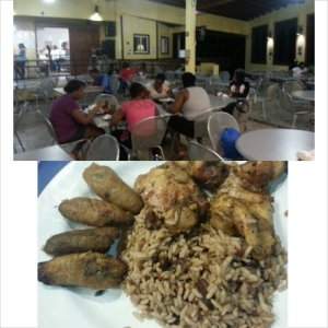 St. Thomas students having dinner and the rice, beans and plantains that were on one of there plates. Antoinette Anderson
