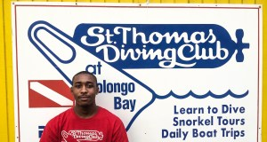 Jashae Joseph at work at St. Thomas Dive Club Photo Credit: Makil Bedminster