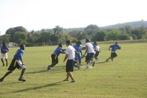 St. Thomas and St. Croix play against each other in flag football.