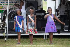 Photo Caption: The Carnival Princess Contestants as they introduce them selves at the Afternoon on the Green. Left Contestant #1, 10 year old Richelle Anisa Lanclos, Contestant #2 is 11 year old Sh'Nyah A. Bacon, Contestant #3 is 9 year old Cemi-Leila John. Photo credit: Lario Duzanson