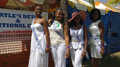 Miss University of the Virgin Islands' contestants representing the St .Thomas campus attended the Agricultural and Food Fair 2014. Photo Credit: Felicia Emmanuel