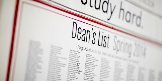 Date Set for Dean's List Reception