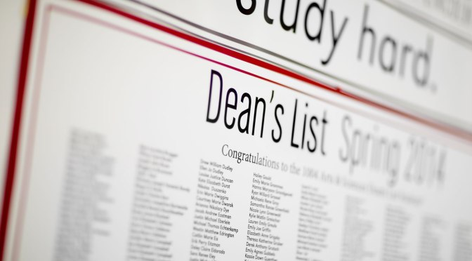 Date Set for Dean's List Reception