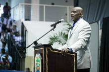Chris Garder addresses scores of male-students at UVI's 2015 Man-Up Male Empowerment Conference. (via: UVI.edu facebook)