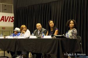 Left to Right Emmanuel Lewis, Shanti Das, Thomas Dortch, Tracy Broughton, Demetria McKinney involved in panel discussion at Legacy Lecture Series at UVI Sports and Fitness Center, St Thomas Campus