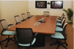 Video conference classroom in the St. John Academic Center, allowing students to connect with the two main UVI campuses.  (photo credit: uvi.edu)