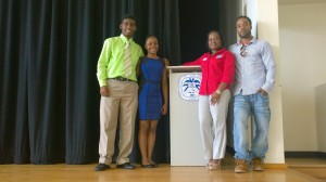 From left to right: UVI student Devon Williams, SGA President Sophia Johnson, Student Activities Supervisor, Hedda Finch-Simpson, and UVI student Hakim Potter. Photo Credit: Felicia Emmanuel
