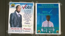 Flyers of Board of Trustees candidates, Hakim Potter and Devon Williams, are posted in several locations on the Albert A. Sheen campus.  Photo credit: Felicia Emmanuel